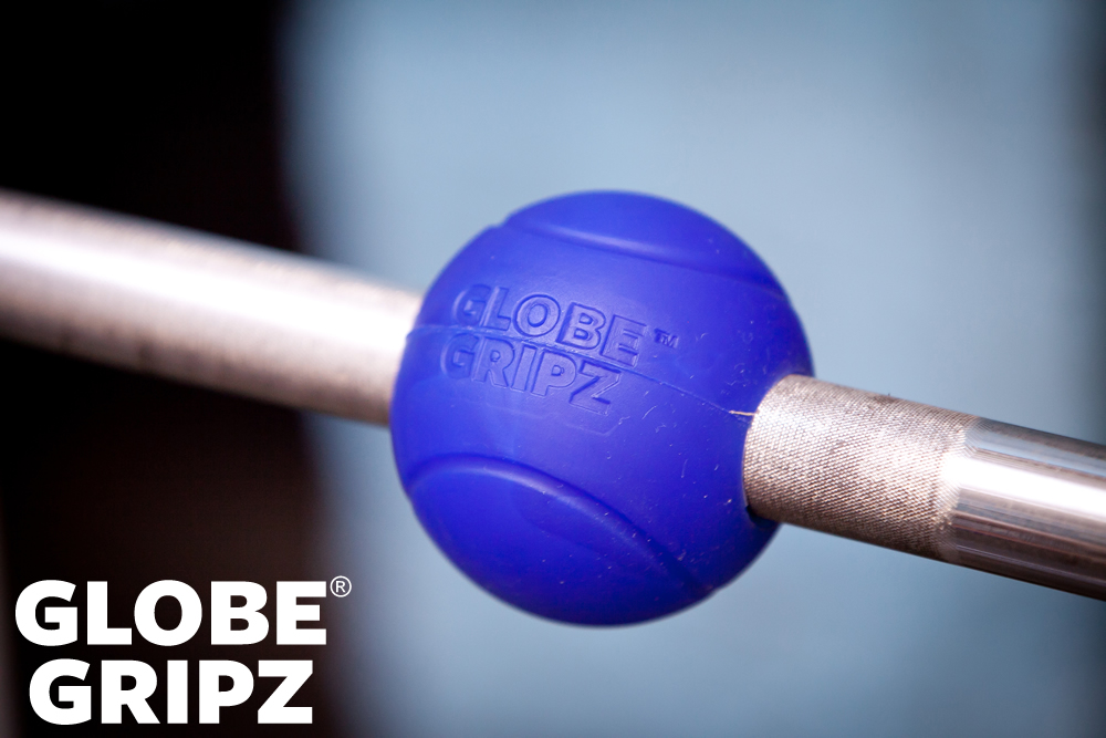 Globe Gripz™ on a barbell.