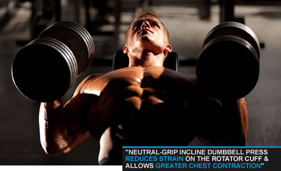 Neutral-Grip Incline Dumbbell Press.